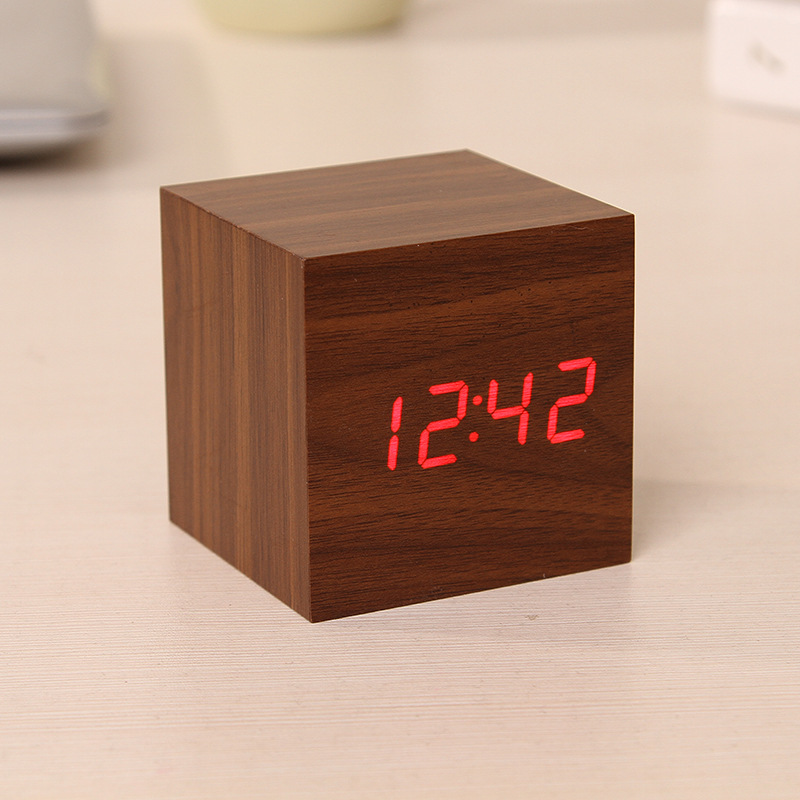Square Wood Grain Led Alarm Digital Clock With Thermometer
